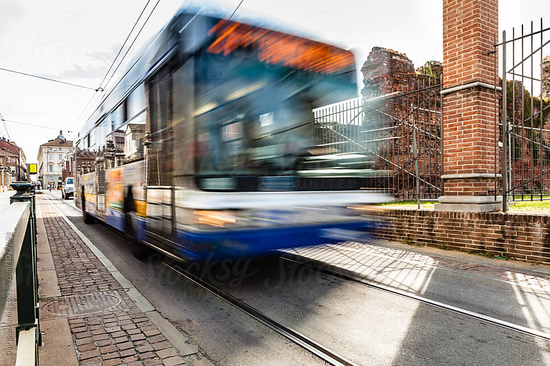 Public Bus Moving in the City of Turin, Italy by Giorgio Magini for Stocksy United