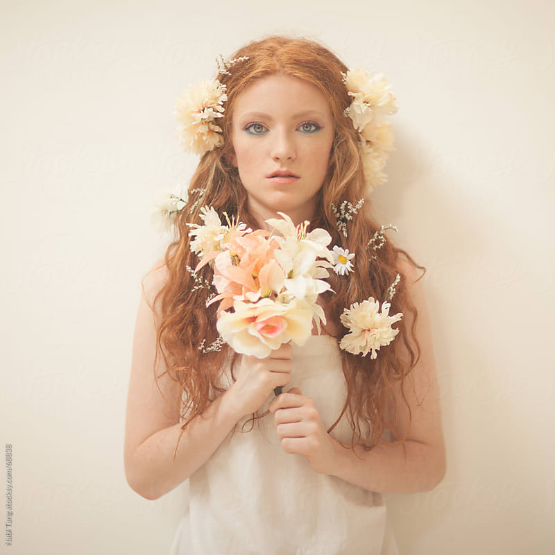Beautiful spring goddess with the flower by Nabi Tang for Stocksy United