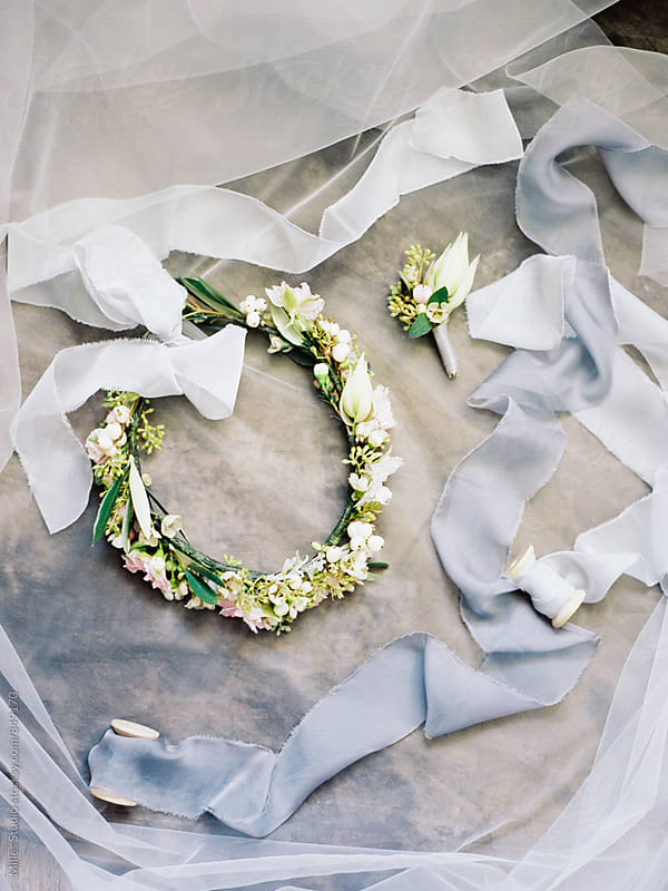 Wreath and Boutonniere by Milles Studio for Stocksy United