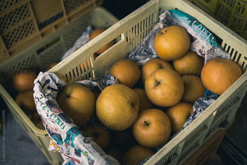 Baskets Full Of Asian Pears by Leslie Taylor for Stocksy United