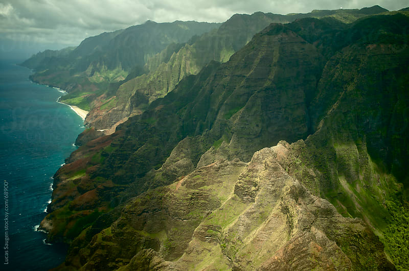 Flying over Kauai, Hawaii by Lucas Saugen for Stocksy United