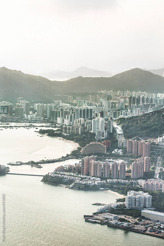Castle Peak Bay, Hong Kong from the air by Ruth Black for Stocksy United