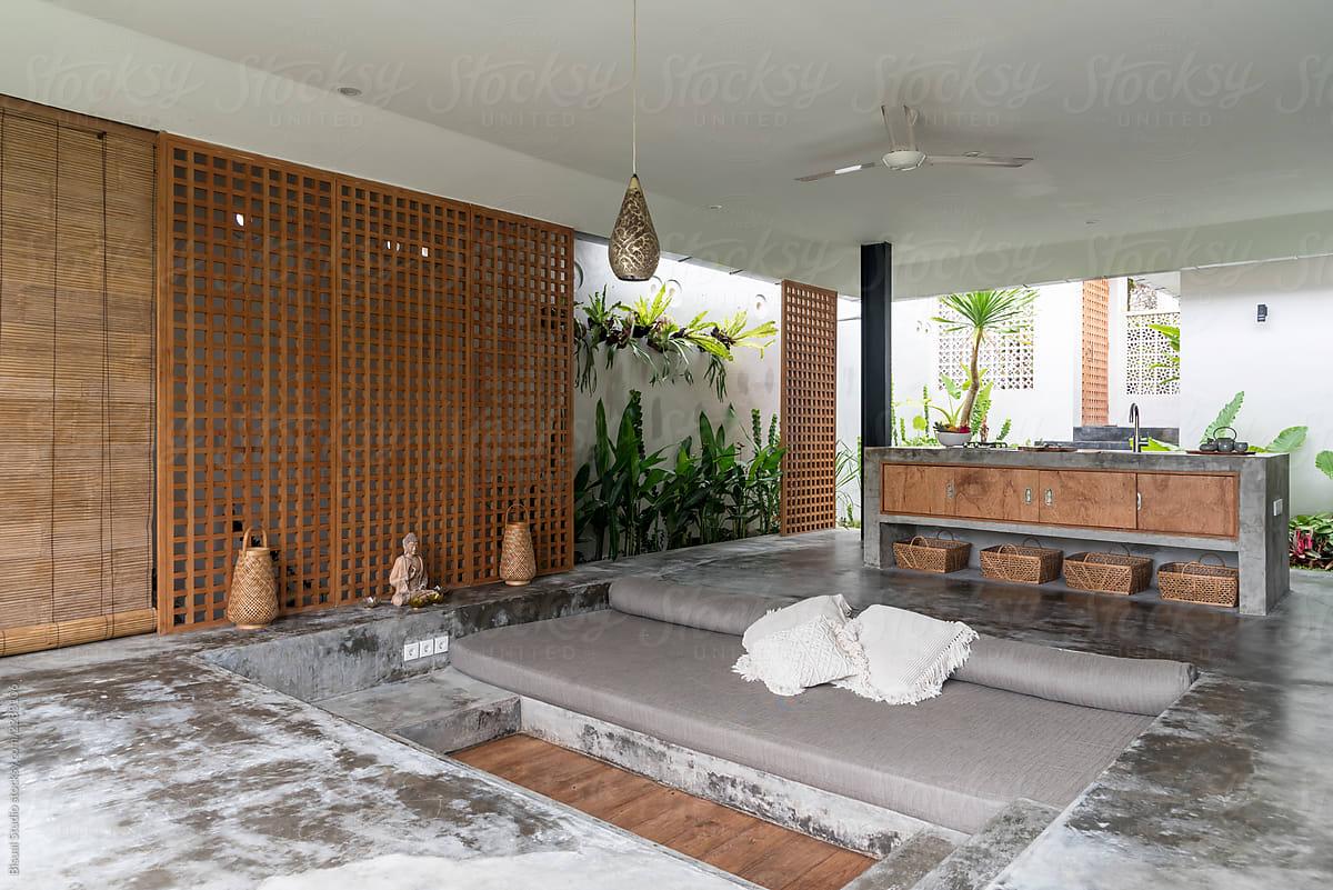 Modern Open Living Room Amd Kitchen In Luxury Villa Bali Stocksy