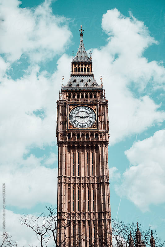 Elizabeth Tower at Houses of Parliament, Big Ben. by Katarina Radovic for Stocksy United