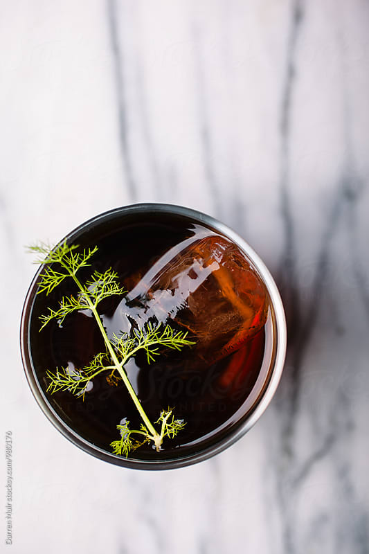 Fennel and rum cocktail. Seen from above. by Darren Muir for Stocksy United