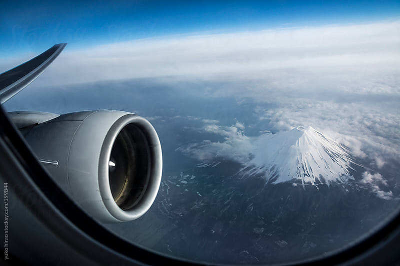 Aerial view of Mt. Fuji from airplane in Japan by yuko hirao for Stocksy United