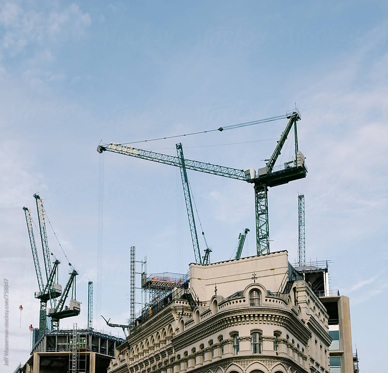 Construction Cranes by Jeff Wasserman for Stocksy United