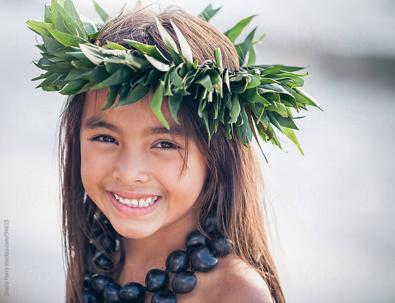 Portrait of a Smiling Young Traditional Hawaiian Hula Dancer Girl by Shelly Perry for Stocksy United