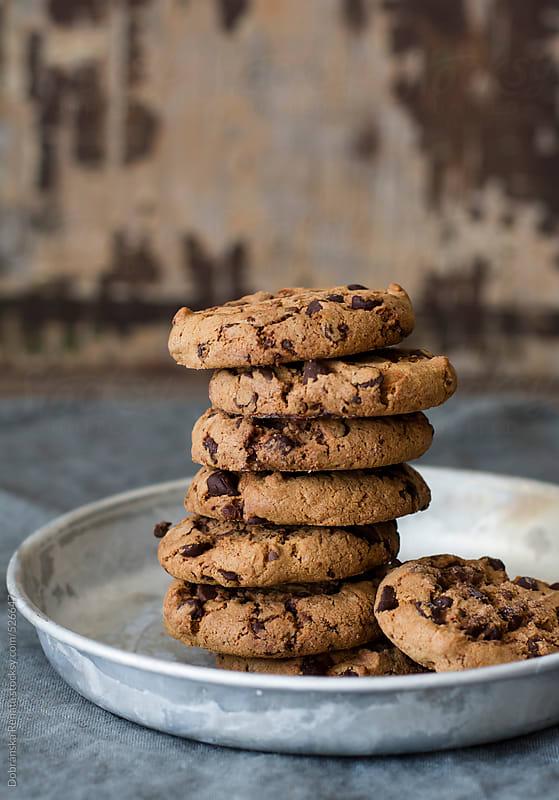 Stack of chocolate chip cookies by Dobránska Renáta for Stocksy United