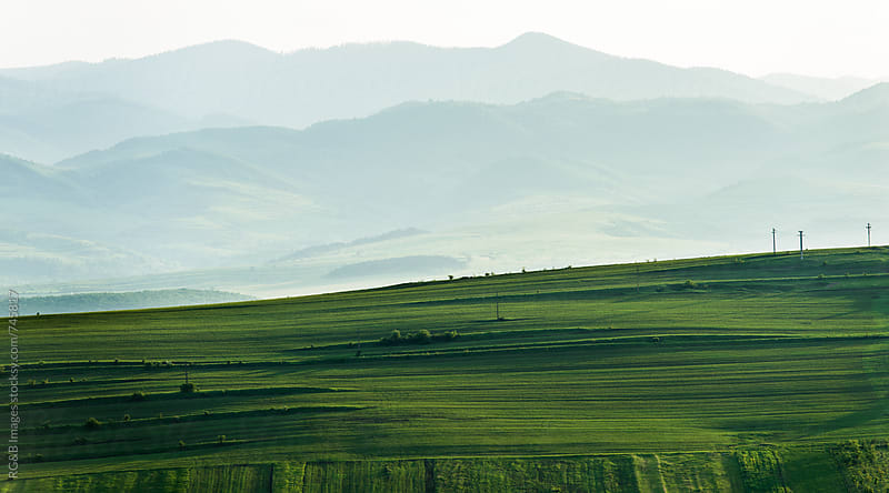 Landscape of hills and cultivated green land by RG&B Images for Stocksy United