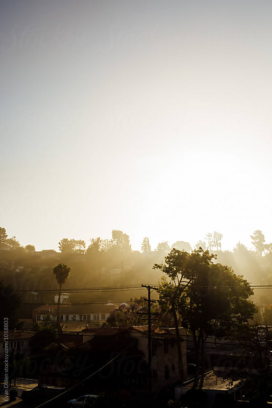 Sunrise Over Los Angeles Neighborhood by Evan Dalen for Stocksy United