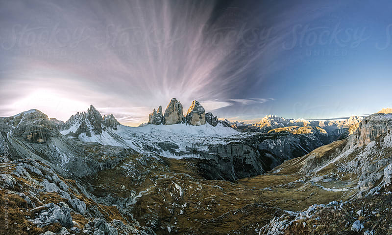 panoramashot with the famous three peaks in the italian dolomites at sunrise by Leander Nardin for Stocksy United