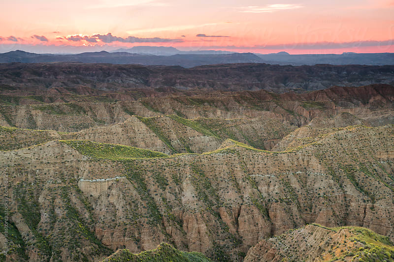 Beautiful badlands landscape at sunset by Marilar Irastorza for Stocksy United