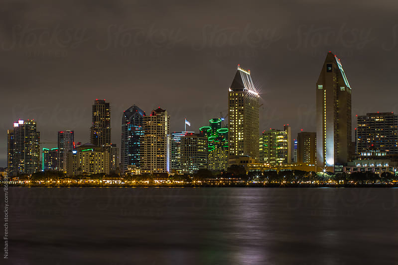 San Diego Skyline at Night by Nathan French for Stocksy United