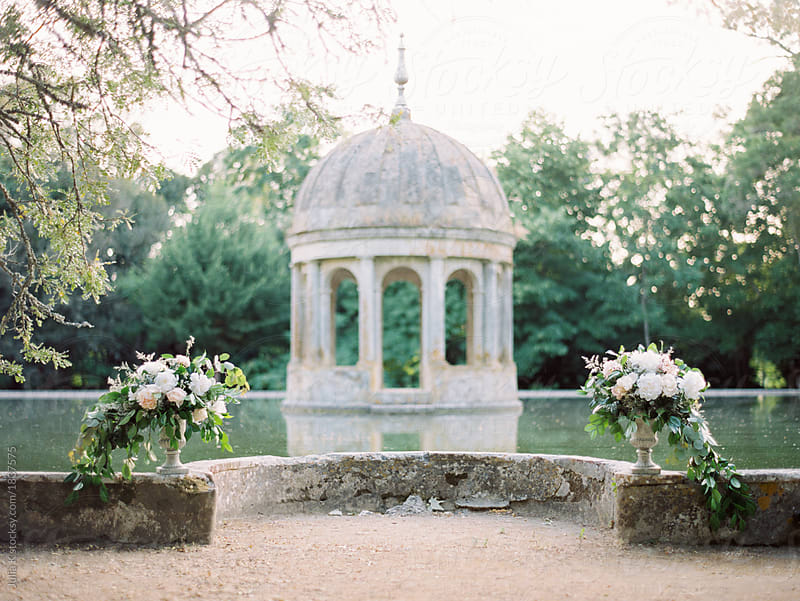 Ceremony place with flower arrangements