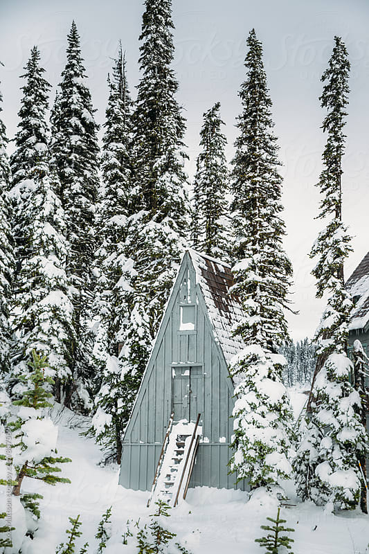 Snow Covered Cabin With Steep Roof Surrounded By Pine Forest In Winter by Luke Mattson for Stocksy United