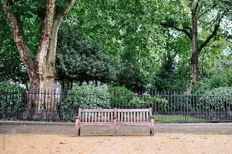 Two benches in a square in London by Kirstin Mckee for Stocksy United