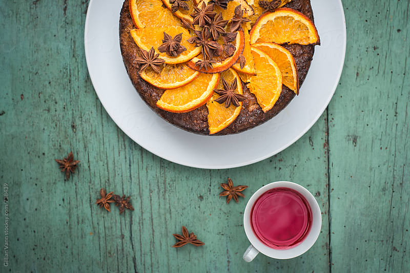 orange and almond cake, with herbal tea by Gillian Vann for Stocksy United
