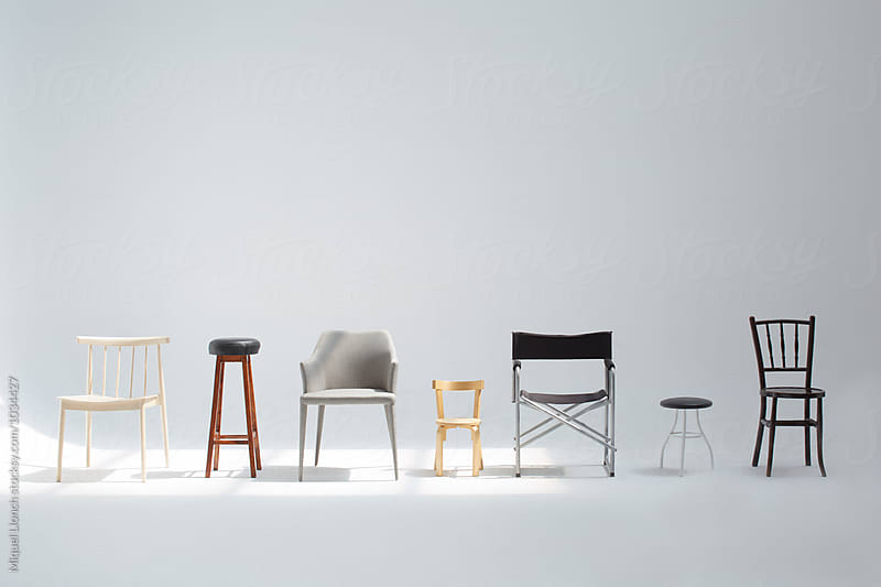 Collection of different seats in the studio by Miquel Llonch for Stocksy United