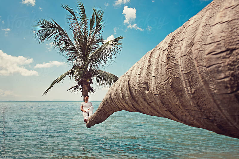 Man sitting on a palm tree above sea. by Marija Savic for Stocksy United