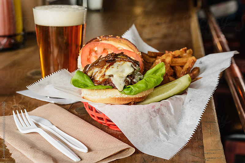 Bar Food: Cheeseburger and Fries by Cameron Whitman for Stocksy United