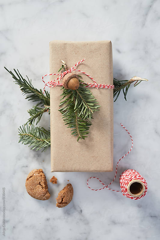 Neatly decorated gift surrounded by Christmas elements by Alicja Colon for Stocksy United