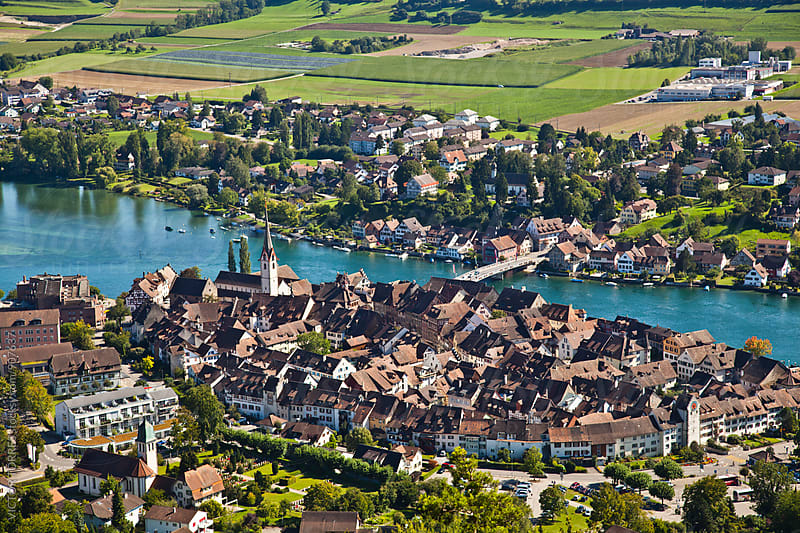 Aerial view of Stein Am Rheim village by VICTOR TORRES for Stocksy United