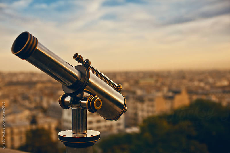 Telescope on the hill overlooking Paris at sunset by Ania Boniecka for Stocksy United