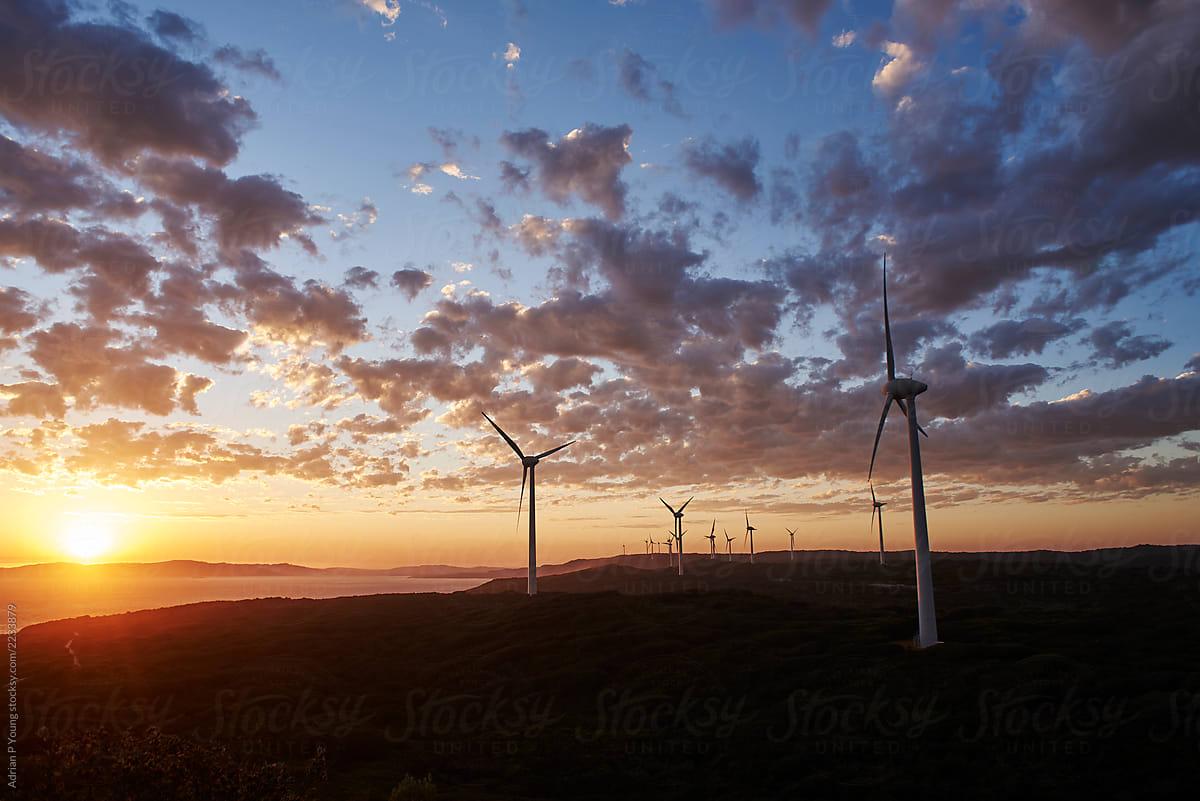 Coastal wind farm at sunset