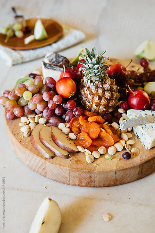 Fruit, Cheese, and Nut Plate by Jayme Burrows for Stocksy United