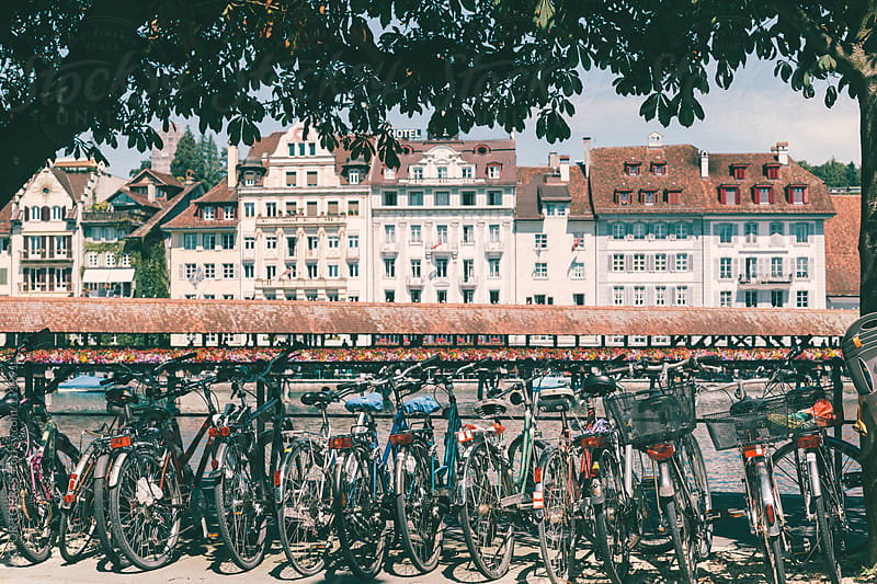 Bike Parking in the Streets of Luzern, Switzerland by VICTOR TORRES for Stocksy United