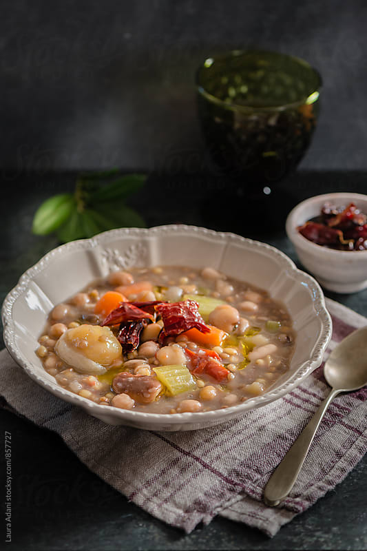 Soup of legumes named Crapiata by Laura Adani for Stocksy United