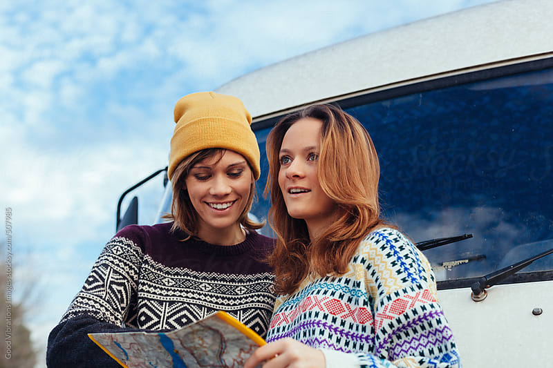 Two girls on a road trip by Good Vibrations Images for Stocksy United