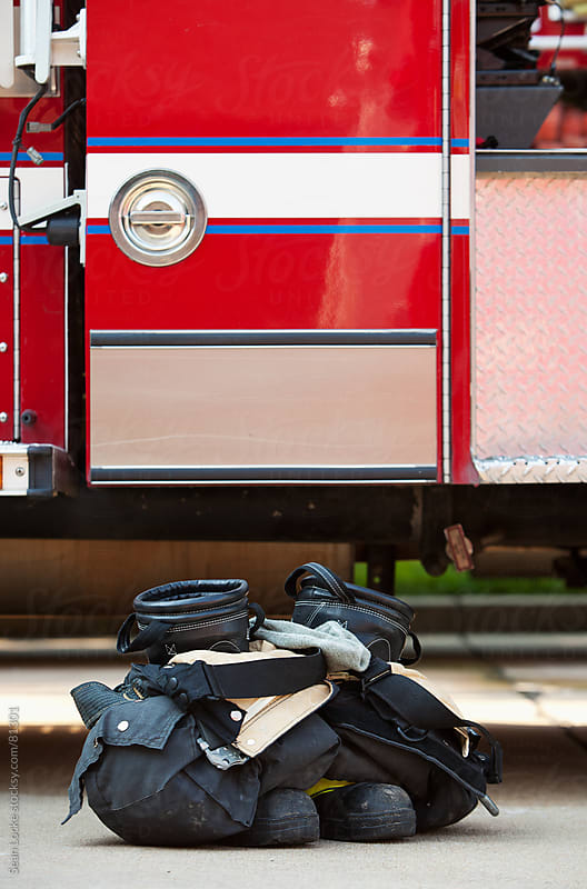 Firehouse: Turnout Gear Sitting By Fire Truck by Sean Locke for Stocksy United