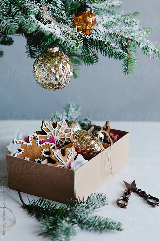 Box full of cookies and ornaments  by Ellie Baygulov for Stocksy United