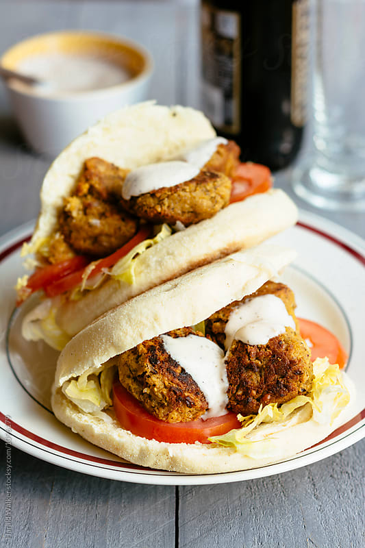 Falafel Balls in Pita Breads by Harald Walker for Stocksy United
