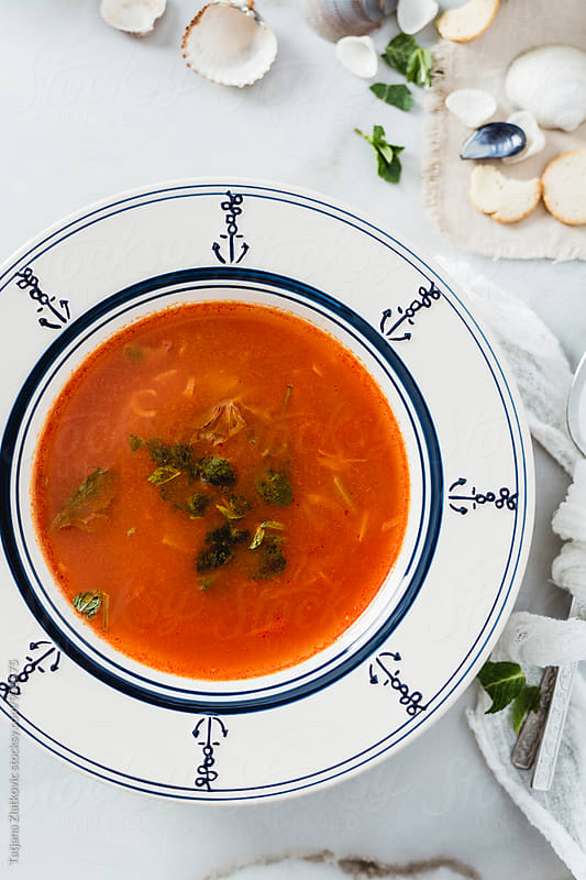 Summer tomato soup by Tatjana Zlatkovic for Stocksy United