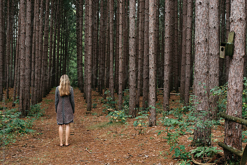 Blonde woman standing on a path in a pine forest by Gabriel (Gabi) Bucataru for Stocksy United
