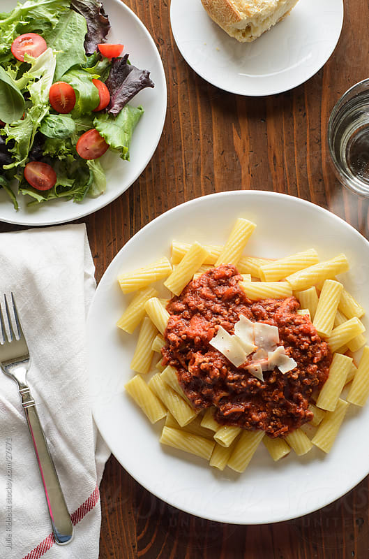Pasta Bolognese Dinner by Julie Rideout for Stocksy United