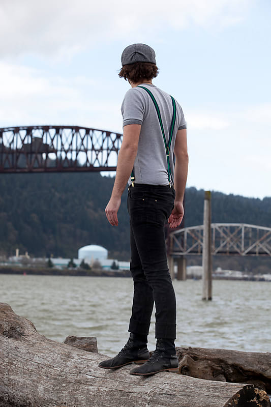 Man Standing on the River Bank. by Carey Haider for Stocksy United
