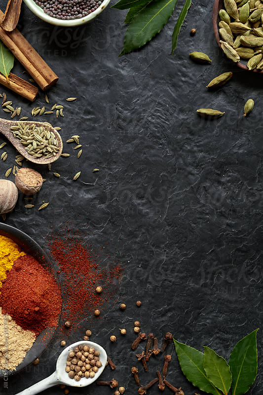 Spices on dark background with copy space  by Jill Chen for Stocksy United