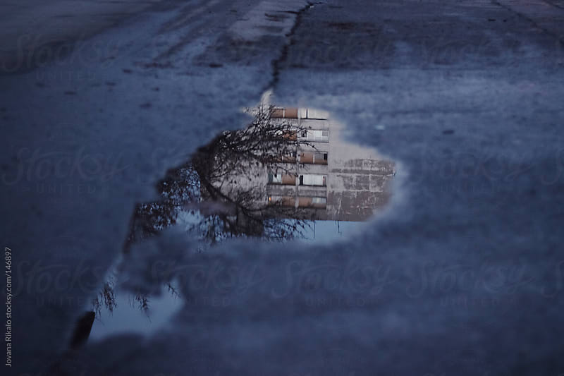 An old building reflection in a puddle of water by Jovana Rikalo for Stocksy United