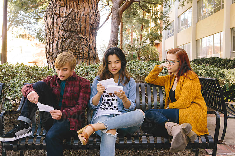 Friends Studying on Campus by Jayme Burrows for Stocksy United