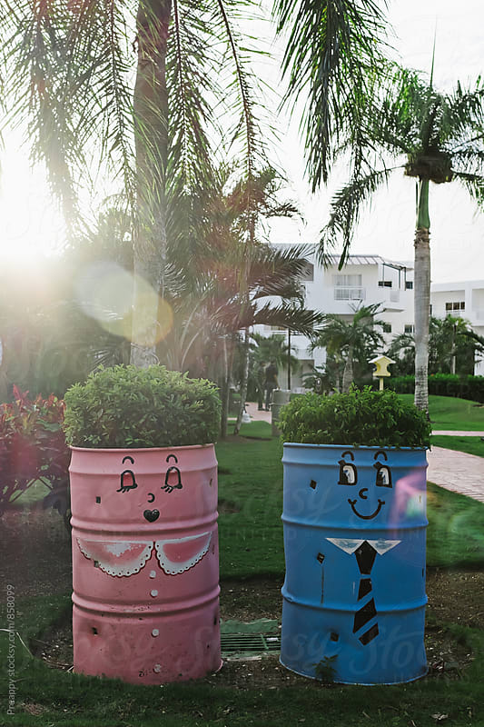 Painted metal barrel used as planters.  Female and male in love. by Preappy for Stocksy United
