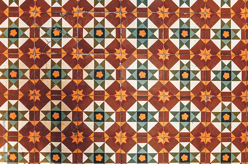 Aged colorful tiles pattern  by Wizemark for Stocksy United