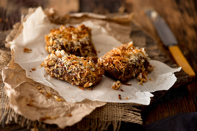 Homemade Coconut-Date Power Bars by Jeff Wasserman for Stocksy United