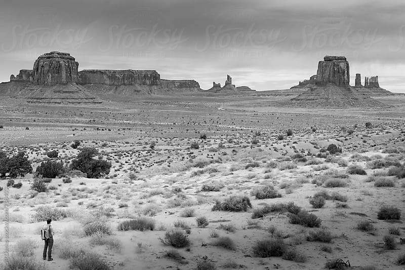 Hiker Observing Monument Valley Utah USA in Black and White in Early Morning Light by JP Danko for Stocksy United