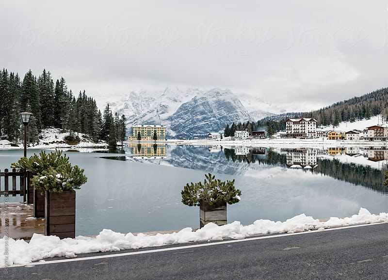 View of the Misurina Lake in Italy from the other side of the road  by Beatrix Boros for Stocksy United