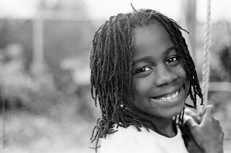 Cute African American girl smiling by Gabriel (Gabi) Bucataru for Stocksy United