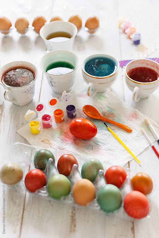 Coloring Easter Eggs.  by Darren Muir for Stocksy United